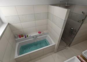 Pohled na vanu a sprchový kout