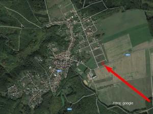 Letecký pohled s vyznačeným pozemkem Babice nad Svitavou